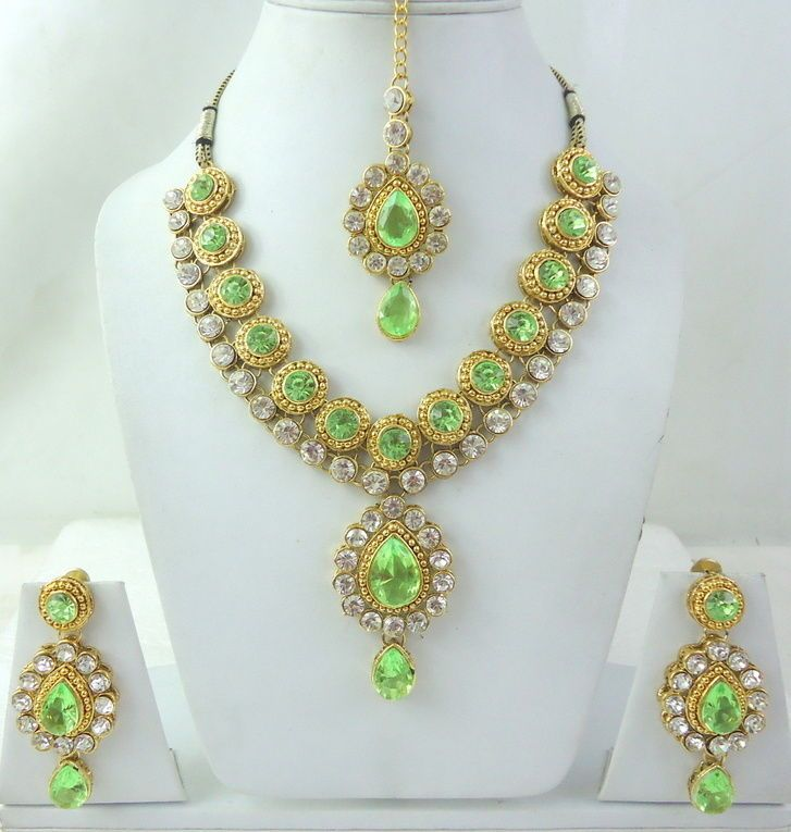 Parrot Green Cz Gold Tone Indian Bollywood Necklace Bridal Jewelry ...