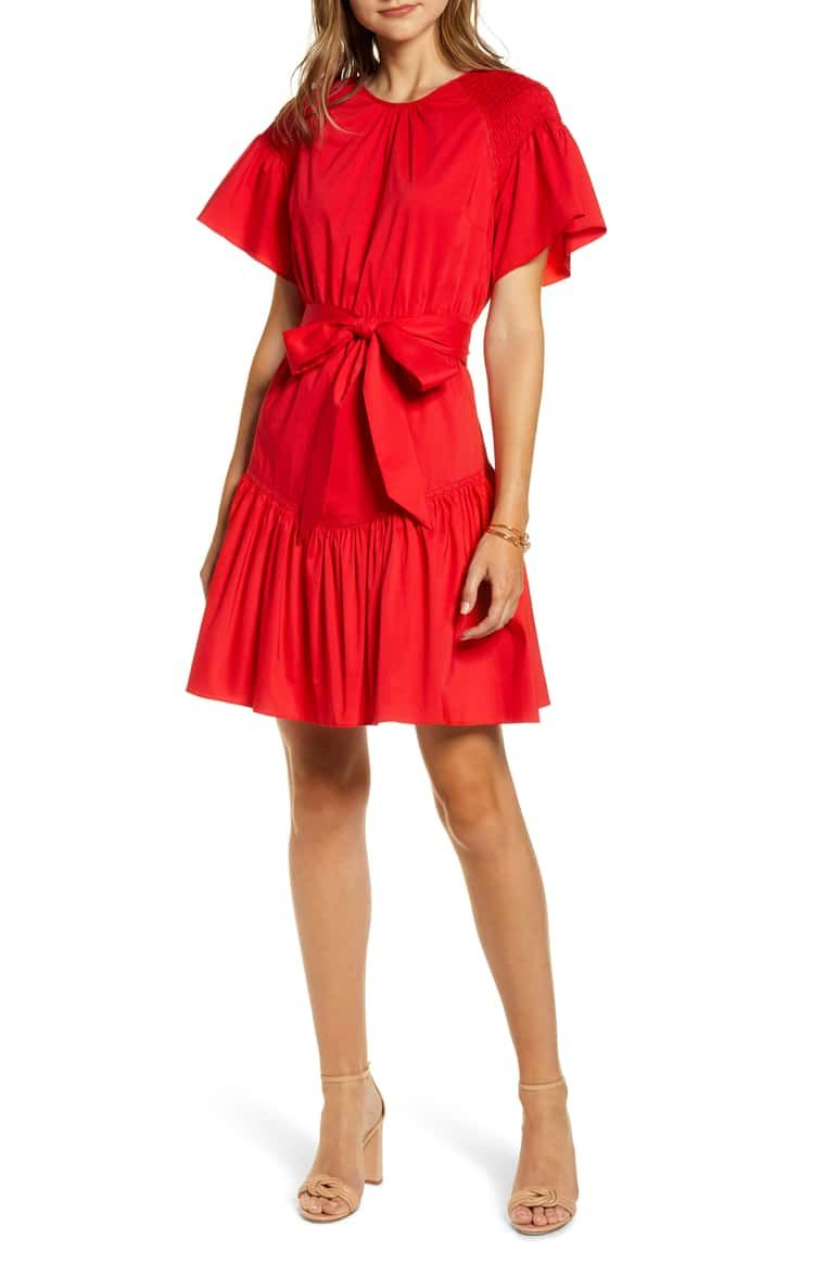 Rachel Parcell Ruffle Front Tie Stretch Cotton Dress Nordstrom Exclusive Nordstrom Nordstrom Dresses Cotton Dresses Long Sleeve Tee Dress [ 1164 x 760 Pixel ]