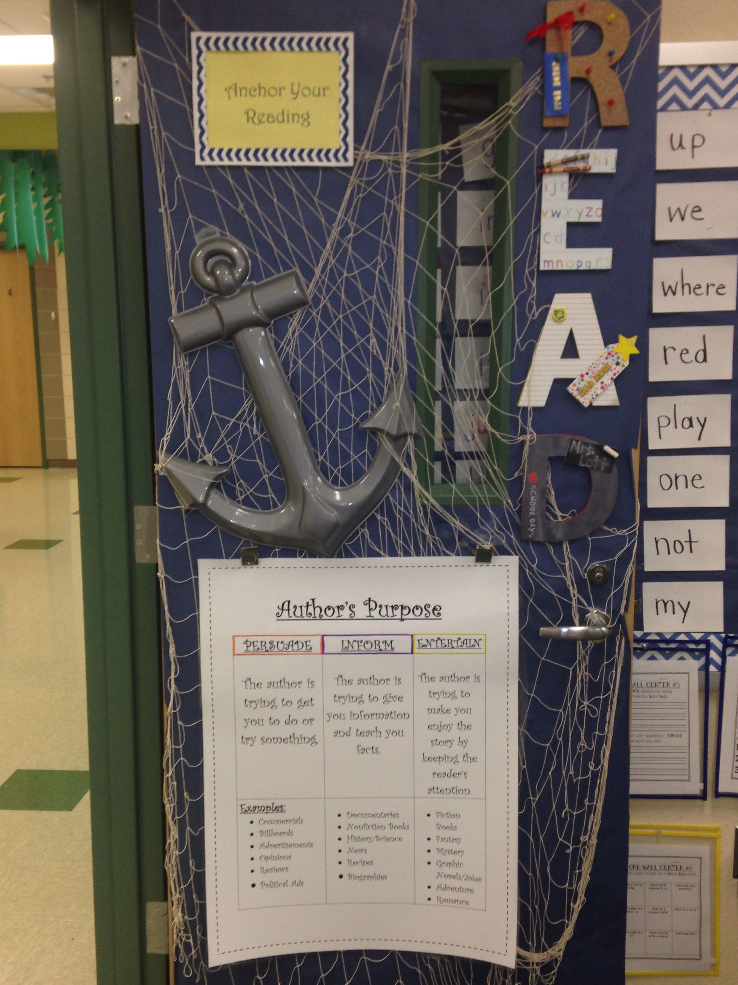 Nautical Door Decoration For My Reading Cl I Changed The Anchor Charts Every Month To Offer Students Staff New Ideas Top Sign Reads Your