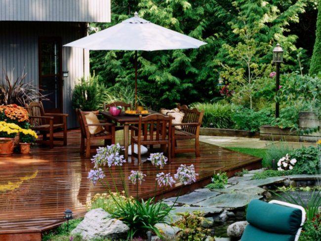 Terrasse im garten teich wasserspiel idee parkett holz for Garten boden idee