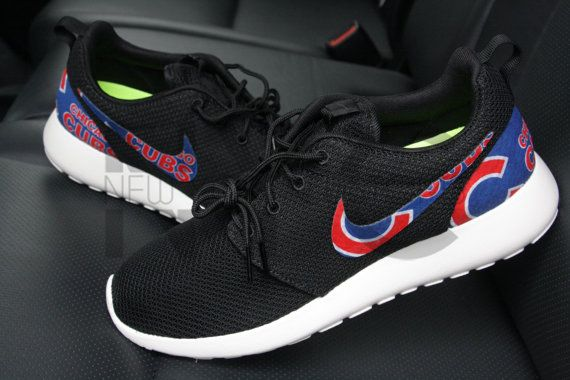 Nike Roshe Run Black White Chicago Cubs Custom Men & Women