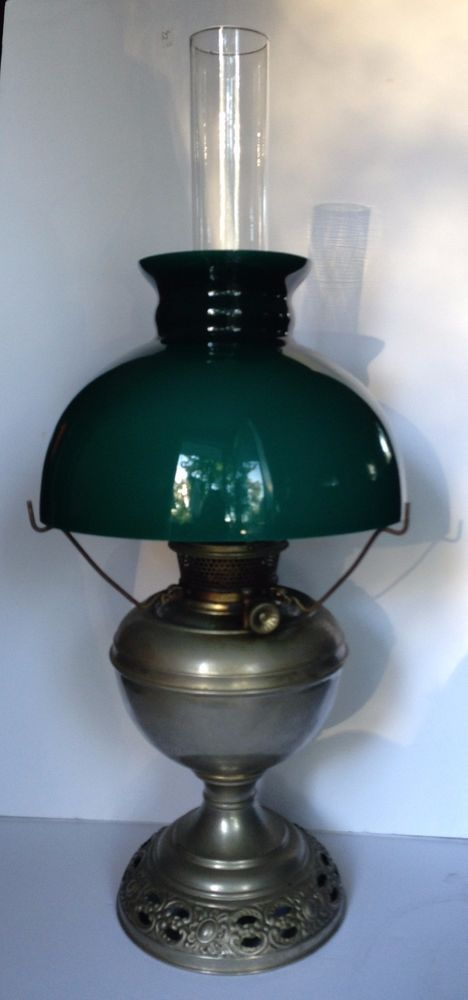 Antique 1889 bradley hubbard bh oil kerosene lamp w original antique 1889 bradley hubbard bh oil kerosene lamp w original glass shade mozeypictures Choice Image