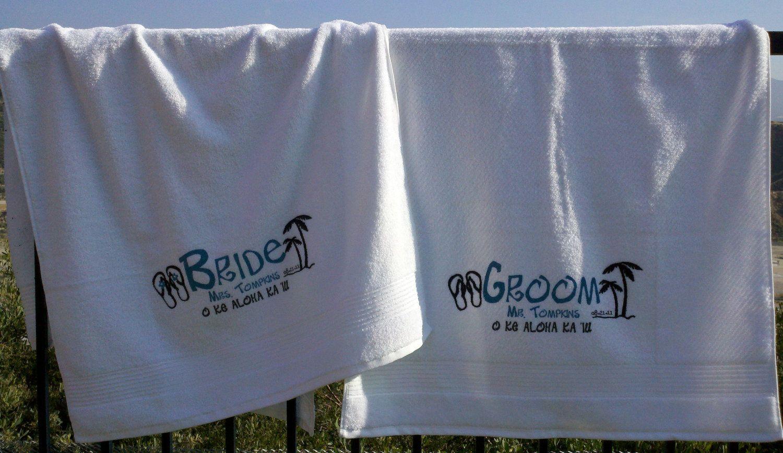 Bride And Groom Personalized Wedding Honeymoon Beach Towels 44 99 Via Etsy