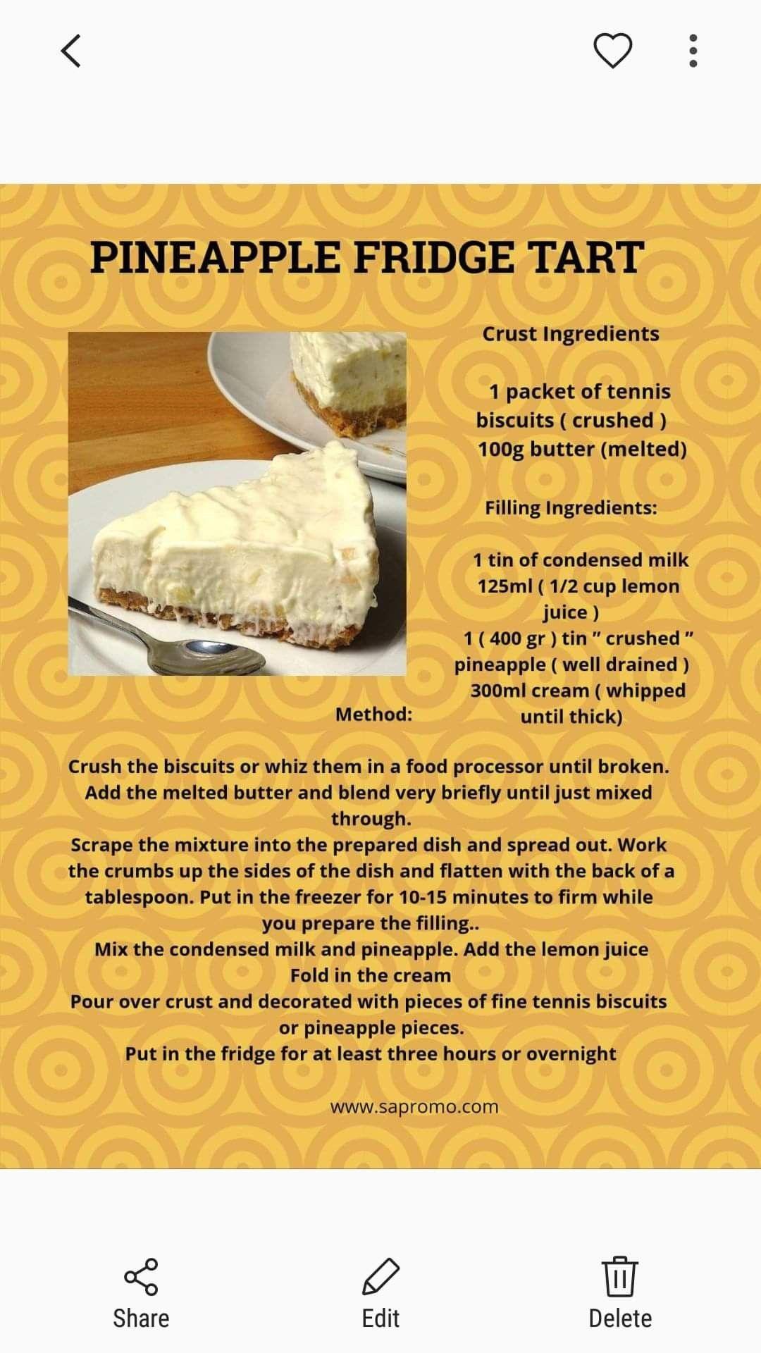 Pineapple Fridge Tart Pineapple Dessert Recipes Tart Recipes Tart Baking