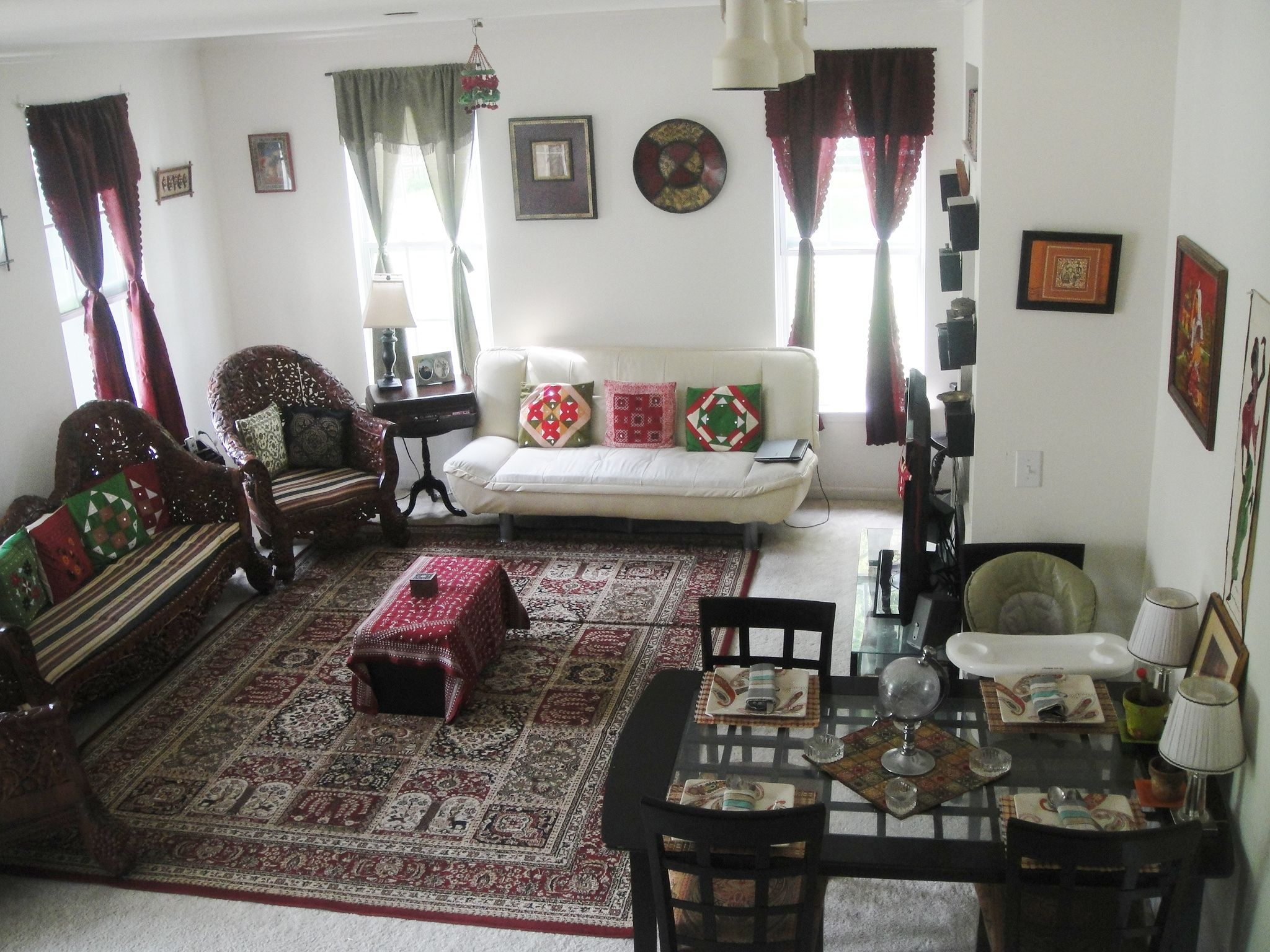 My Indian Inspired Living Cum Dining Room In My Rental Place..almost  Everything Here Is From India Brought From My Trips Home. Also Furniture  Set Is From ...