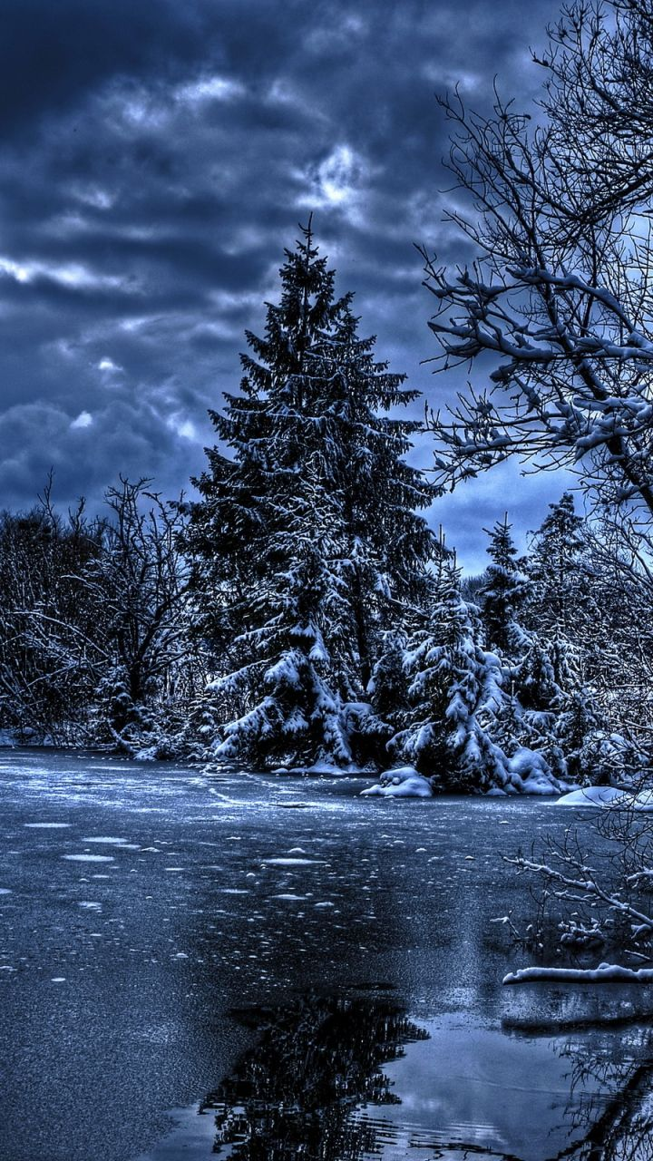 Download Wallpaper 720x1280 Winter Trees River Lake Snow Ice Hdr Samsung Galaxy S3 Hd Background Winter Wallpaper Winter Trees Samsung Wallpaper