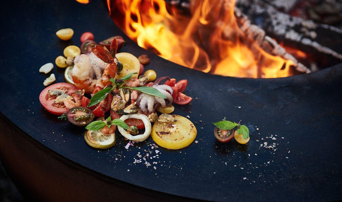 Seafood Auf Dem Feuerring