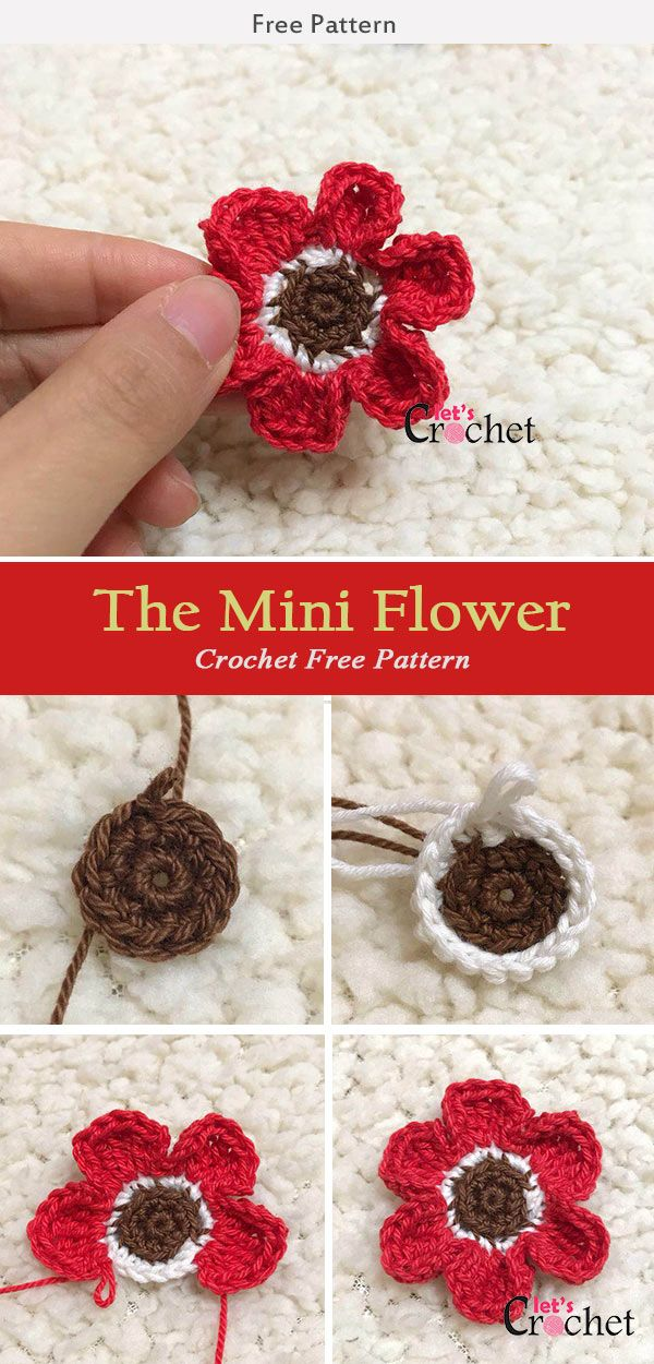 The Mini Flower Crochet Free Pattern Pinterest Flower Crochet