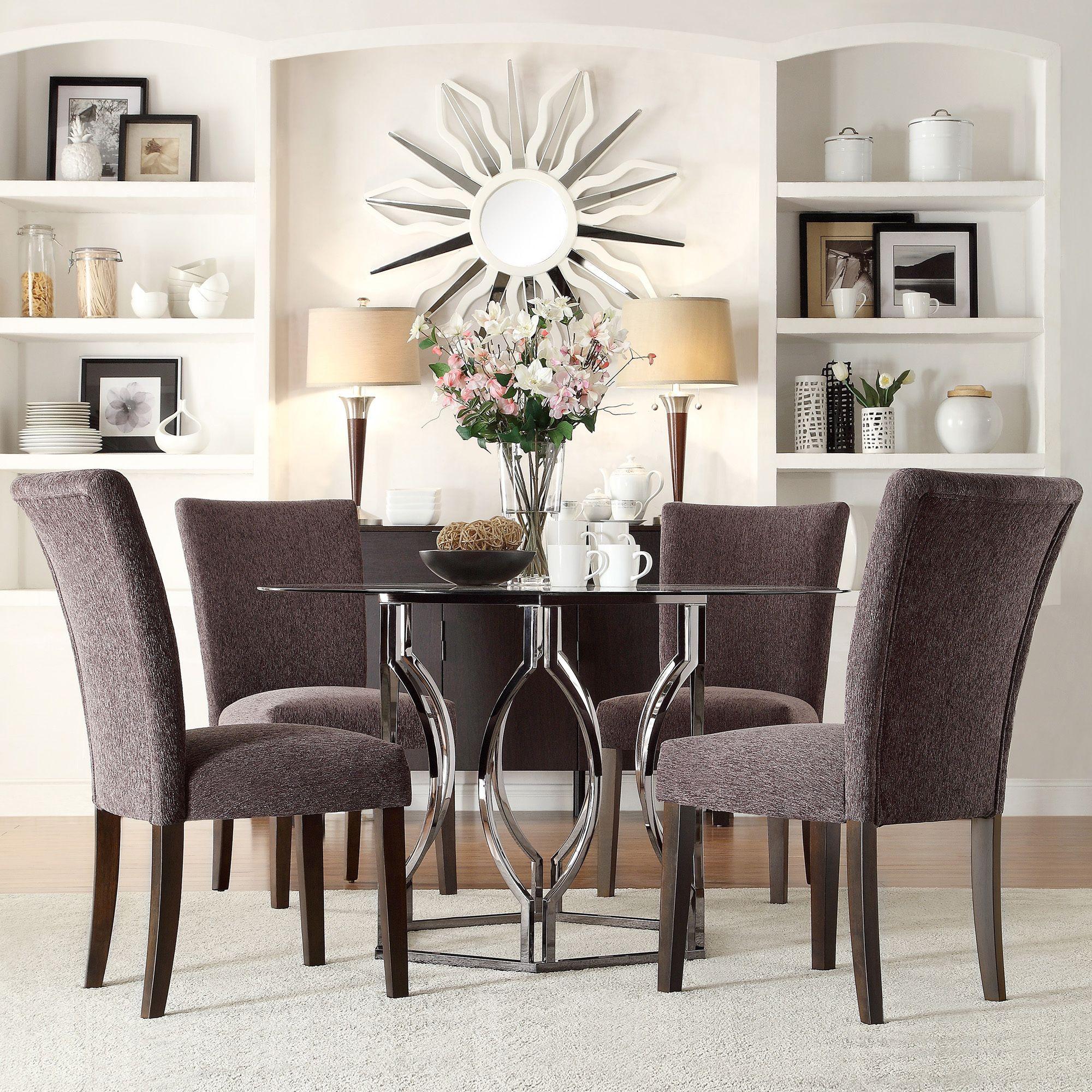 Enhance your modern dining room decor with the Inspire Q Kona 5-piece dining  set