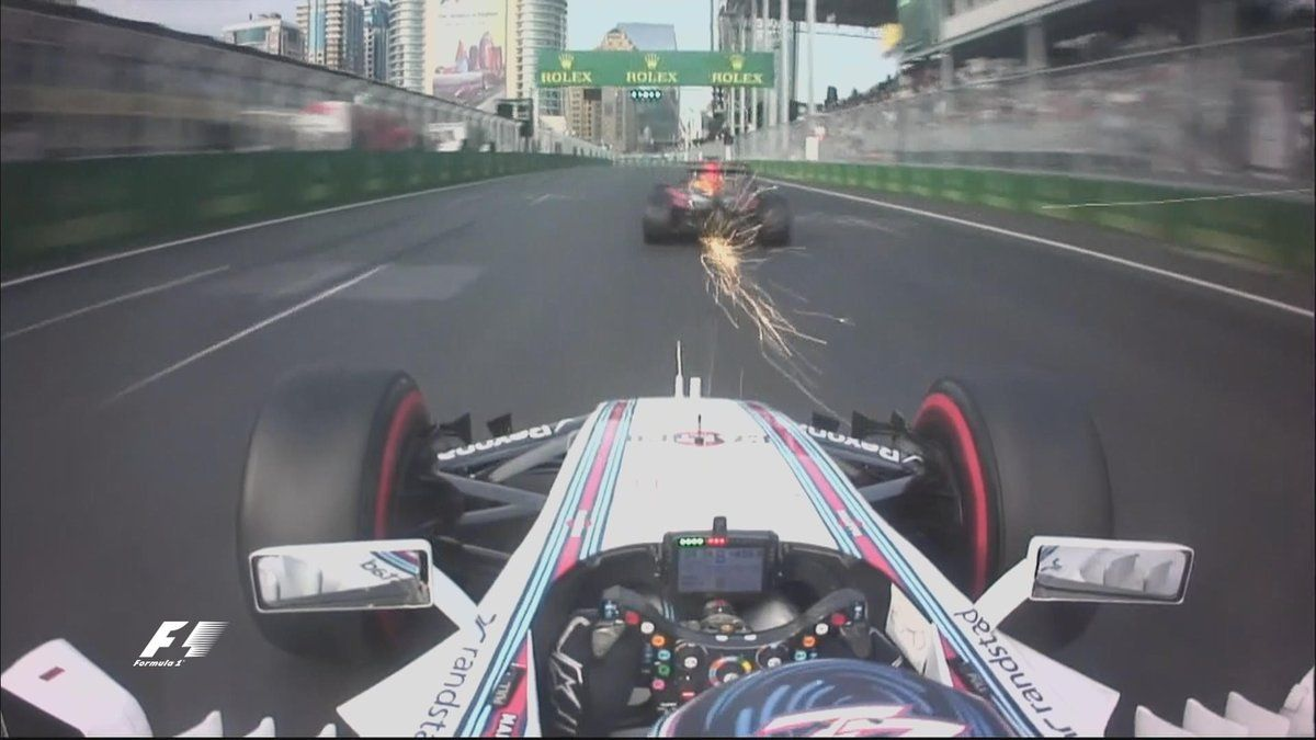 """Sparks flying on the track and on the airwaves between VES and BOT   VES: """"What the **** is he doing?""""  #EuropeGP https://t.co/XIcOmc0maC"""