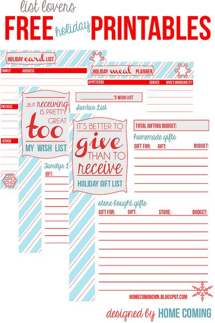 Holiday Free Printables For List Lovers By Home Coming  Cards