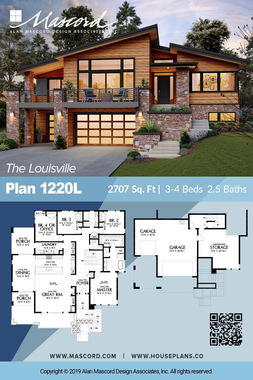 Plan 1220l Gorgeous Contemporary House For Upsloping Lots Contemporary House Plans Sims House Plans House Blueprints