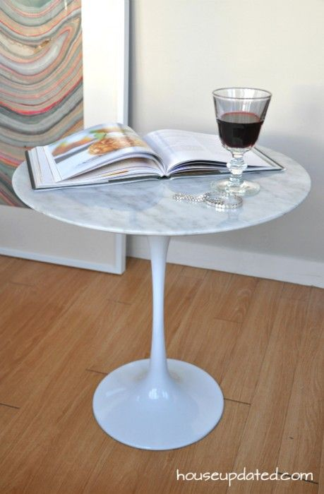 Saarinen Style MidCentury Carrara Marble Tulip Side Table