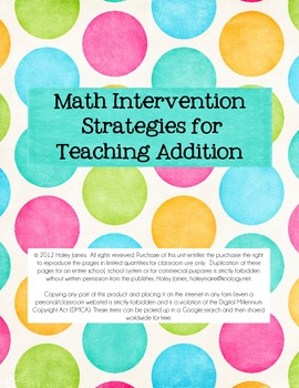 Intervention Strategies For Teaching Addition Teaching Addition
