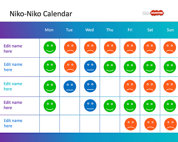 with the niko-niko calendar template you can capture the team mood, Modern powerpoint