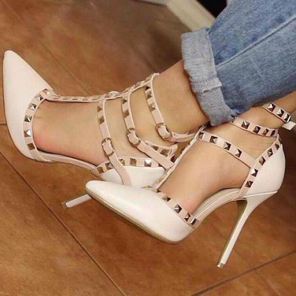 a4c11d8404d1 FSJ Sandal Shoes Lillian White Rivets Pointed Toe T Strap High Heels Rivets  High Heels Pumps Hollow Out Pumps Fashion and Popular Summer and Fall  Outfits ...
