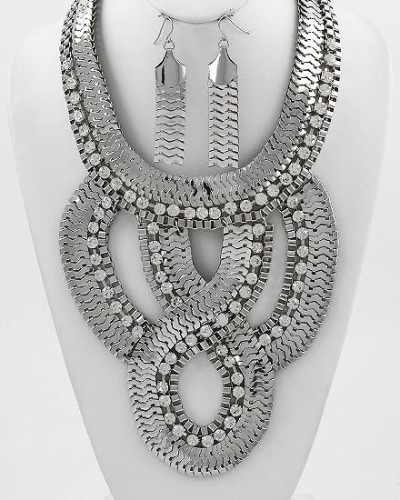 Knotice Me Silver and Rhinestone Statement Necklace - $92 - Find hot fashion jewellery and statement jewlry at Strike Envy. #jewellery #jewlry StrikeEnvy.com