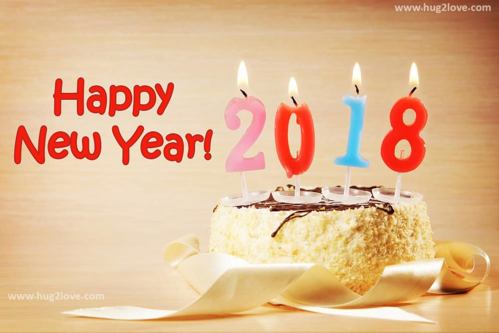 New YEar 2018 Cake And Candles Wallpaper