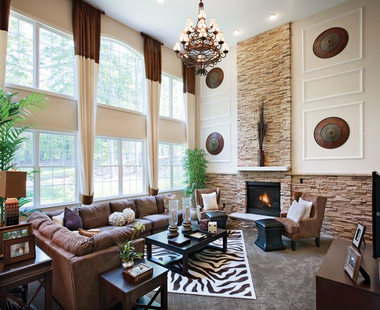 Interesting walls | 2 Story Family Rooms | Family room ...