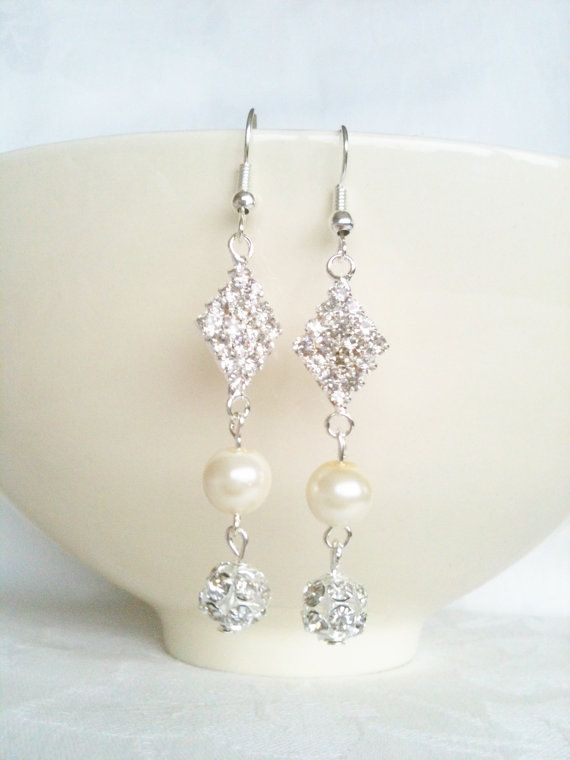 Ivory Pearl & Rhinestone Diamante Earrings by InfinityByClaire, £6.00