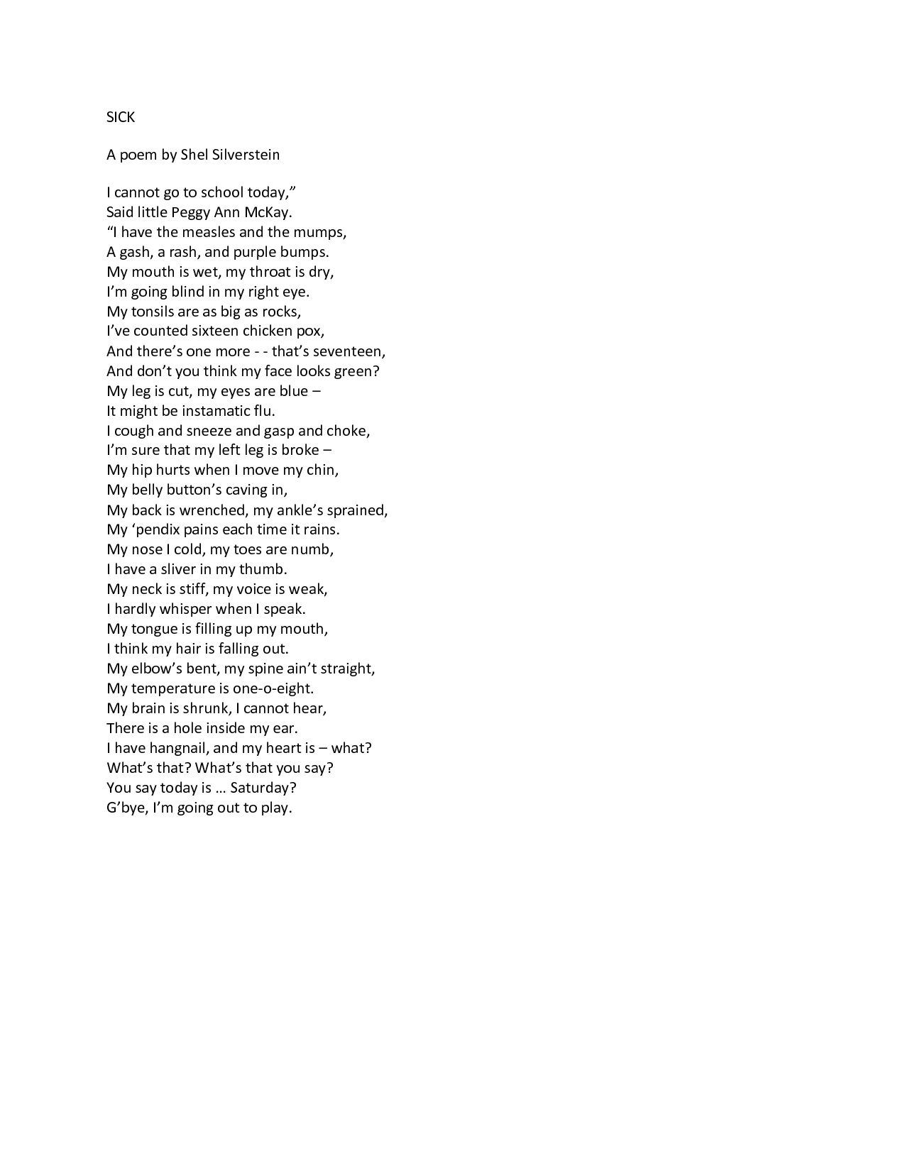 THE SICKNESS | Poetry | Shel silverstein poems, Poems