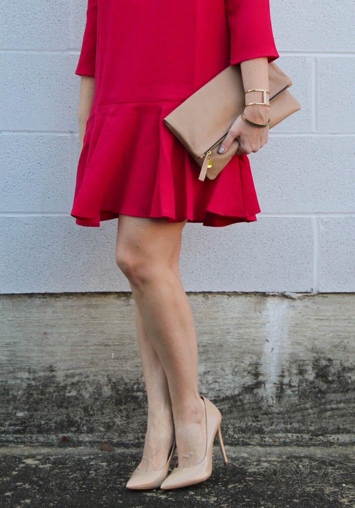 366da9093fc9 Pink Ruffle Trim Shift Dress and Blush Heels