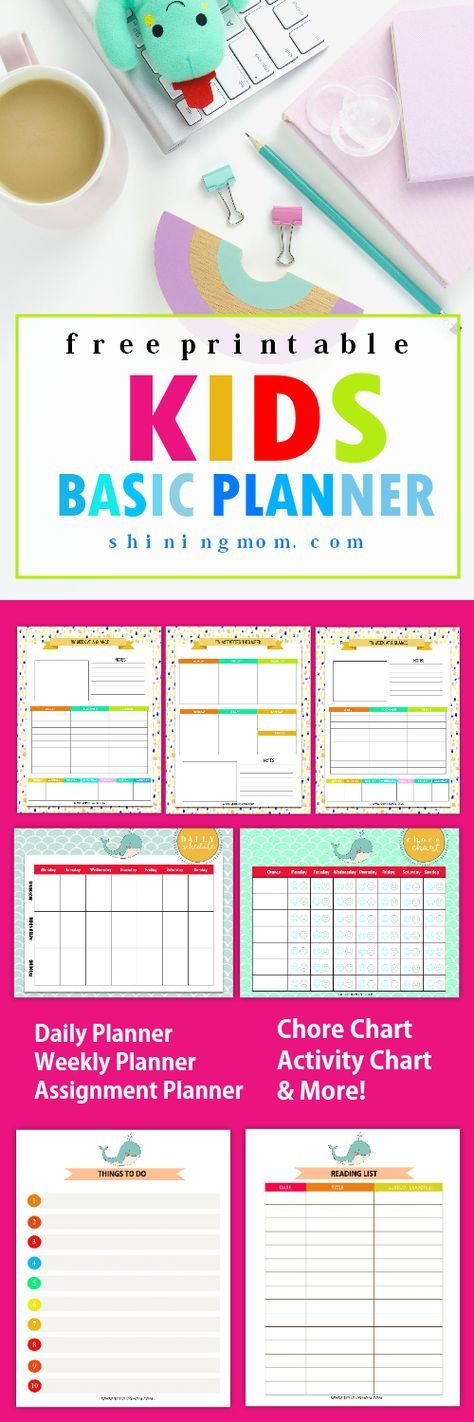 Free Printable Kids Planner  Cute And Colorful  Planners Child