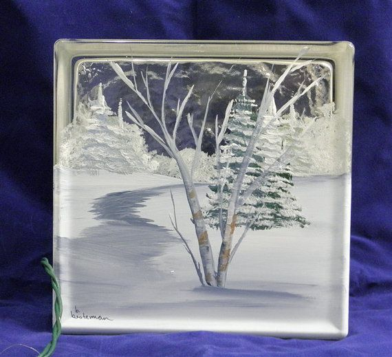 Glass Block LightWinter Path by bestemancreations on Etsy, $34.00