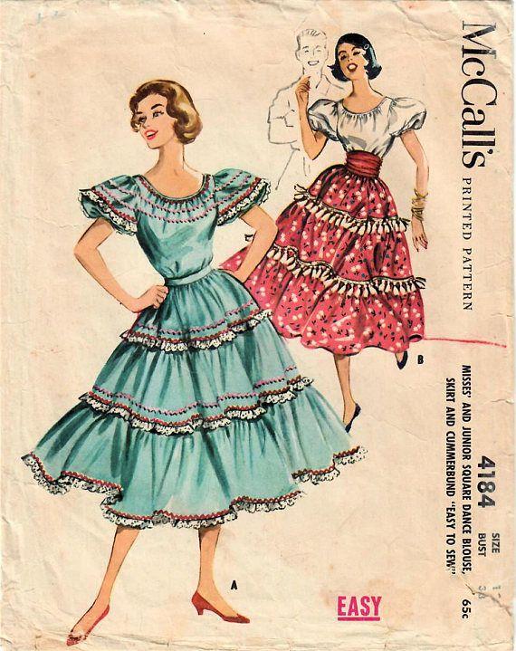 1950s Mccalls 4184 Vintage Sewing Pattern Junior Miss Square Dance