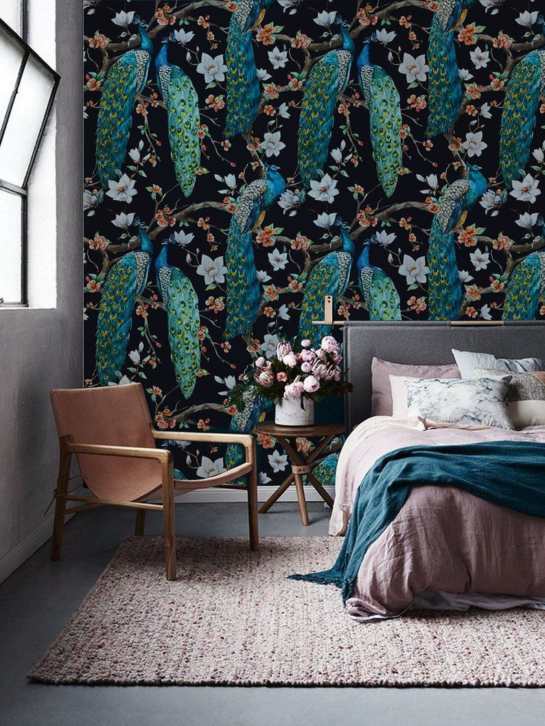 Peacock removable Wallpaper traditional white Print