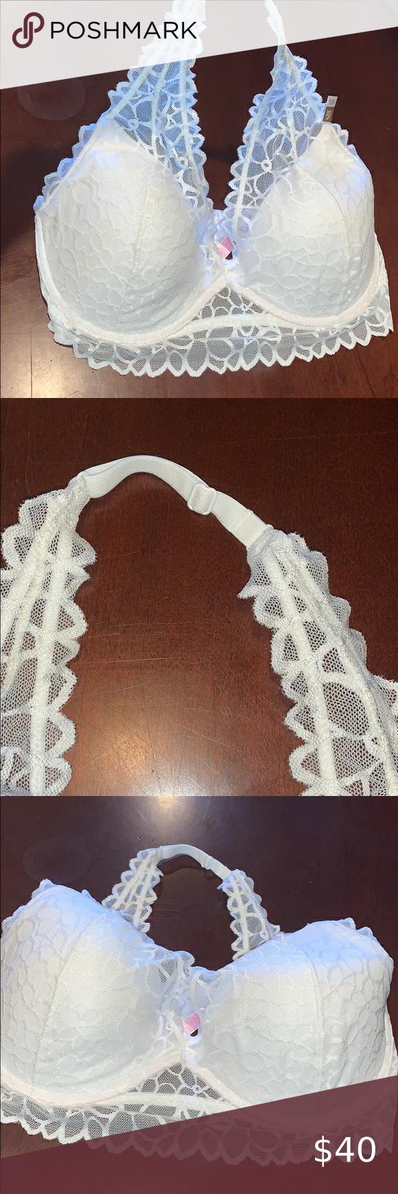 Pink VS White lace halter lightly padded bra LG DD