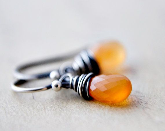 Mexican Fire Opal Drops Earrings  Orange Peach Flame by PoleStar