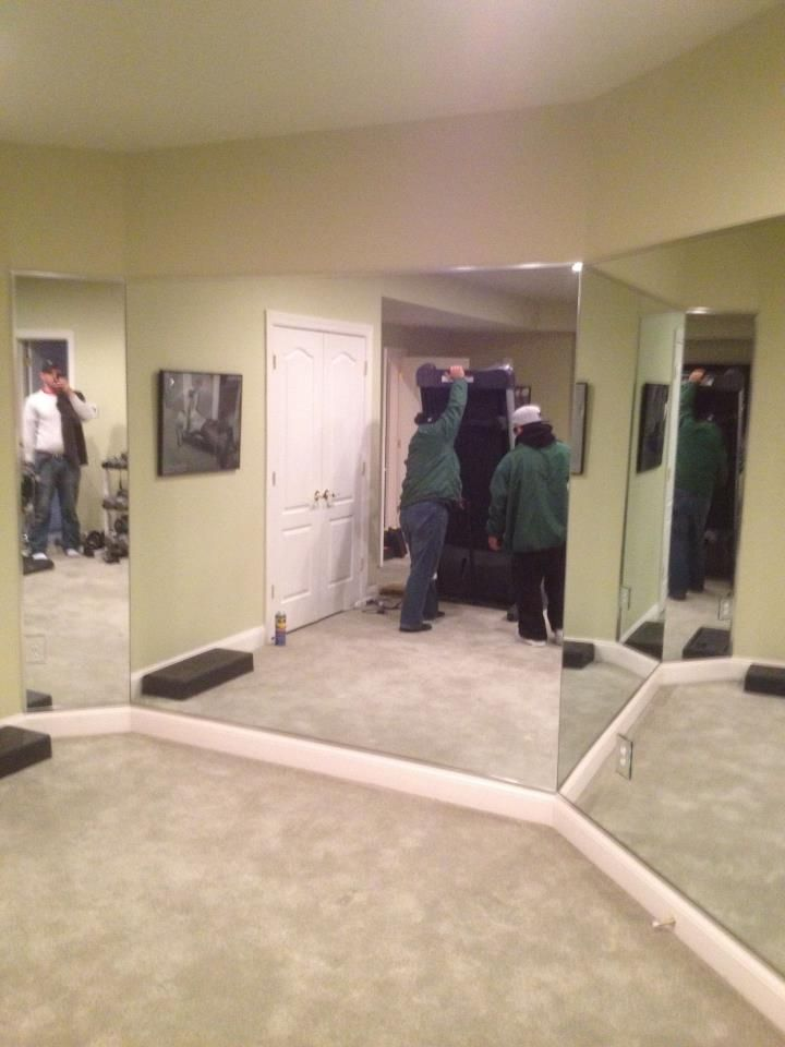 Angled Wall Mirror Walls Installed For A Home Gym In Oakton