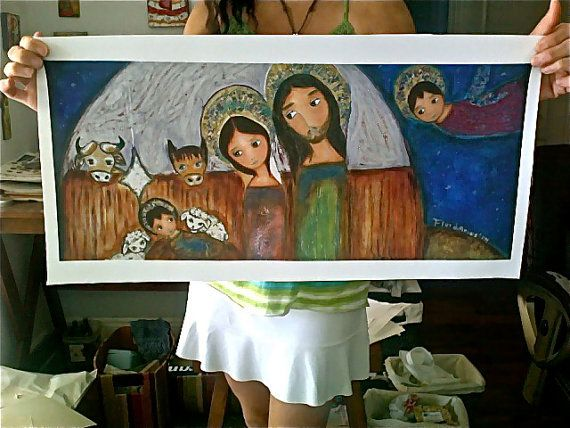 The Nativity  - Large Print on Fabric (10 x 23.5 inches) by FLOR LARIOS