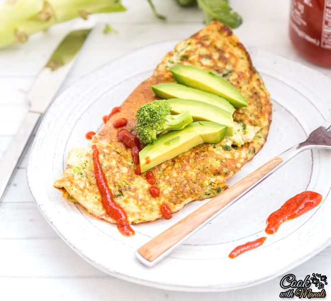 Broccoli Sriracha Omelette - Cook With Manali