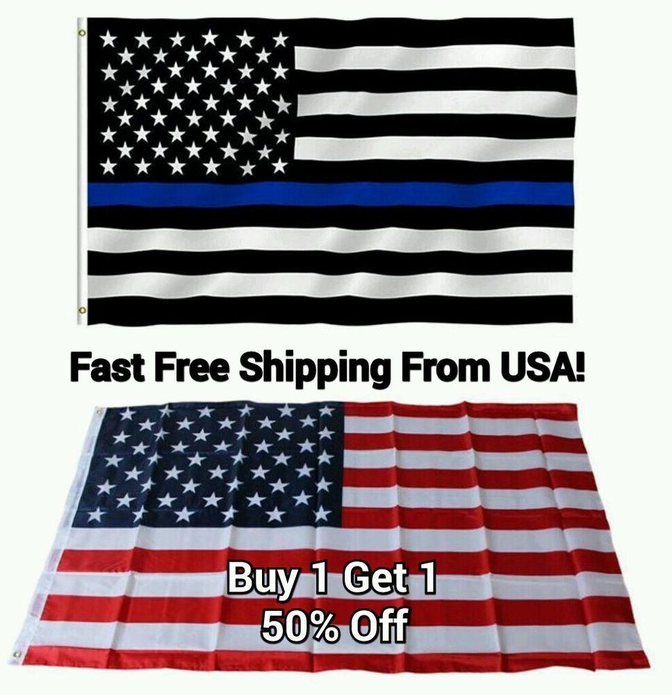 United States America Flag Black and White with Blue Stripe   3/' x 5/' Flag