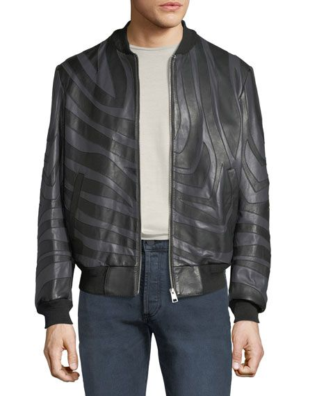 c174635a3 JUST CAVALLI | Men's Tiger-Striped Leather Bomber Jacket | CAD ...