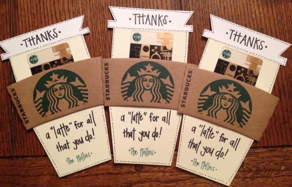 starbucks gift card thank yous  starbucks gift card