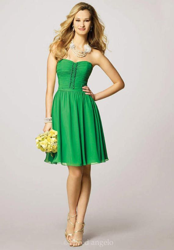 Chic Charming Short Green Bridesmaid Dresses | Wedding ...