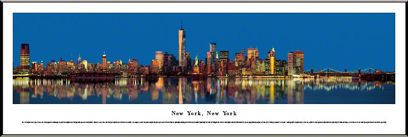 New York City LOWER MANHATTAN SKYLINE AT DUSK Panoramic POSTER by Blakeway