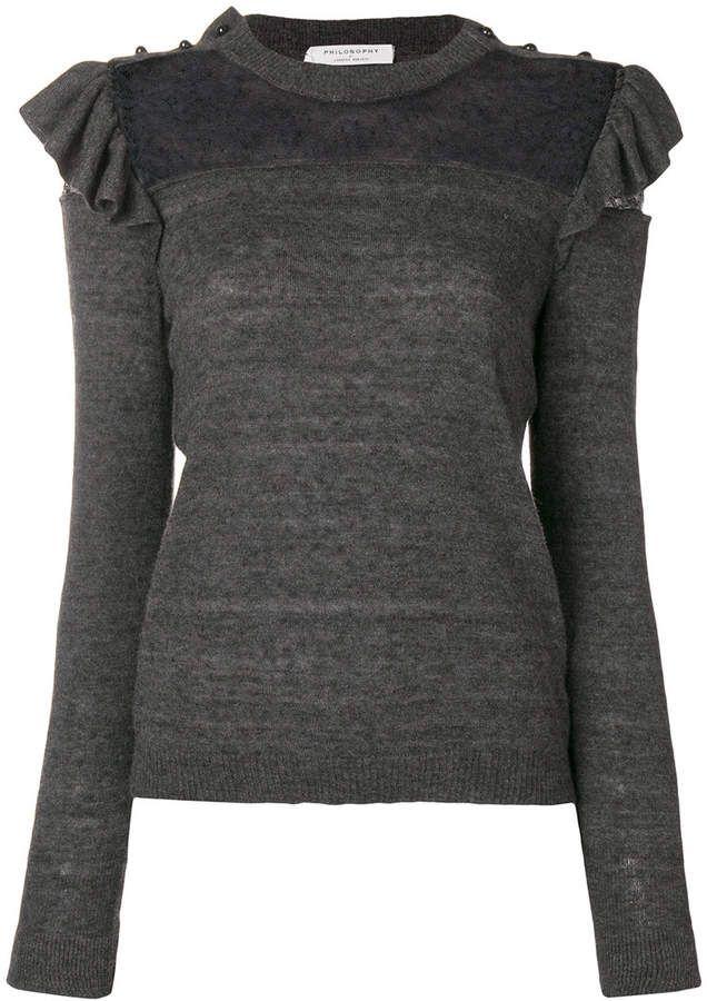 Philosophy Lace Lorenzo Pattern Sweater Noir Serafini Di Trqw4T