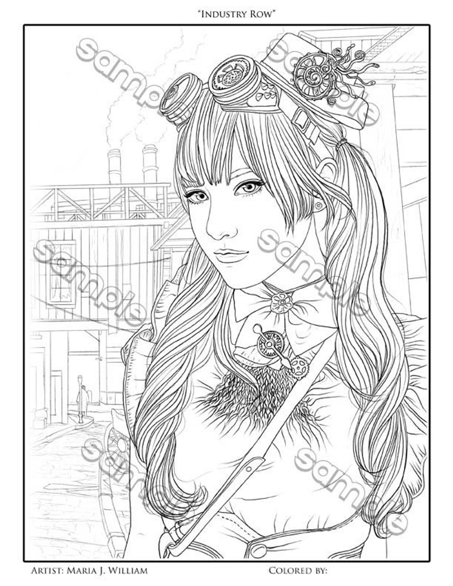 Steampunk Coloring Page By Maria J William Instant Pdf Etsy Steampunk Coloring Coloring Pages Coloring Pages To Print