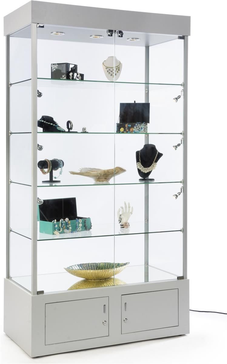 41 Display Case W X2f 9 Led Lights Mirror Bottom Enclosed