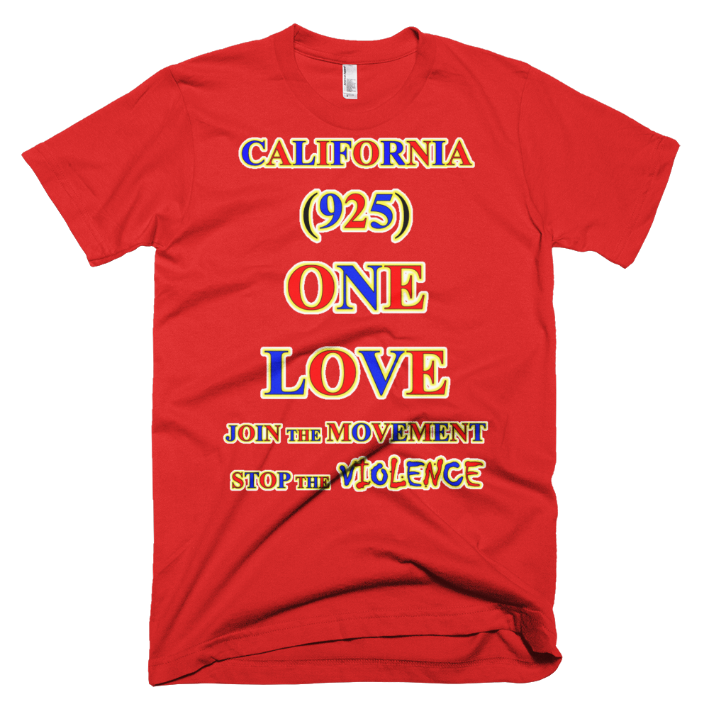 T CALIFORNIA Area Code ONE LOVE TSHIRT - Area code 925