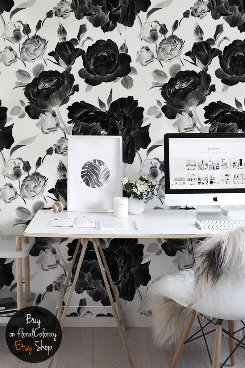 Negative Roses Removable Wallpaper Self Adhesive Wall Decor Etsy Removable Wallpaper Floral Wall Black And White Flowers