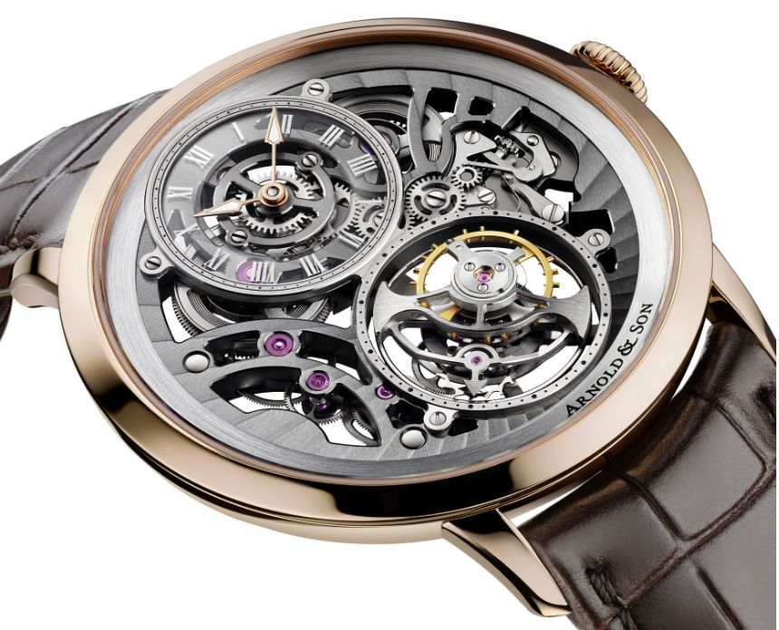 "Arnold & Son UTTE Skeleton Watch Is Thinnest Skeleton Tourbillon - on aBlogtoWatch.com ""In 2013, Arnold & Son raised eyebrows with their Ultra-thin Tourbillon Escapement 'UTTE' watch which, back then, was the world's thinnest tourbillon watch. The watch was just 8.34mm thick and housed the calibre A&S8200 which measures just 2.97mm thick. Though it has since lost the title of thinnest tourbillon watch to the Bulgari Octo Finissimo Tourbillon, the UTTE still remains an impressive…"