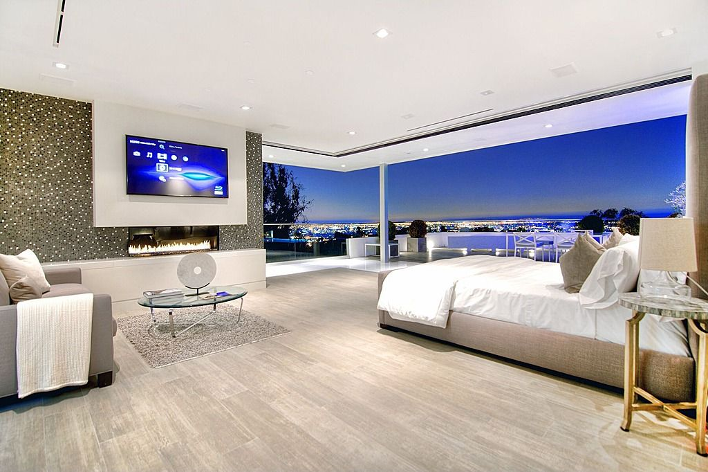 How To Decorate Your Master Bedroom Wall Pictures   Retractile Window Glass  Wall With A Panoramic View Of The Bay. Modern Architecture With Grey  Furniture ...