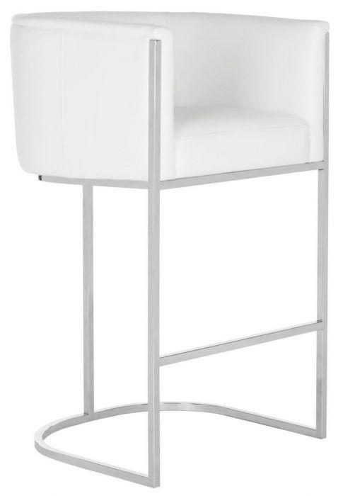 Strange Safavieh Shiloh Bar Stool Leather White Stainless Steel Lamtechconsult Wood Chair Design Ideas Lamtechconsultcom