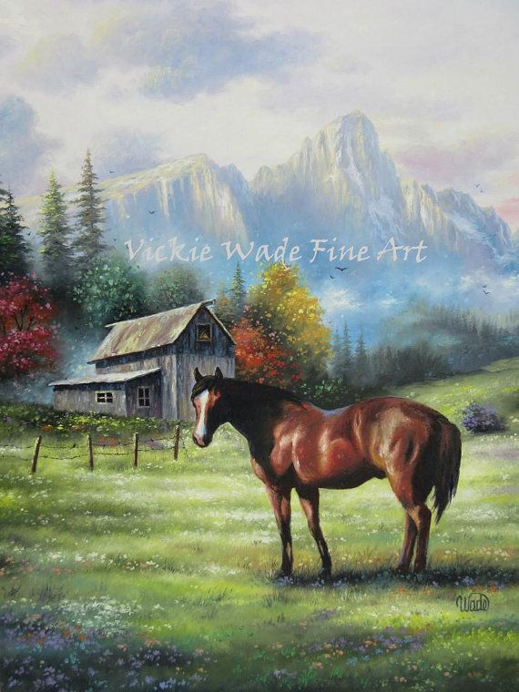 Mountain Horse Original Oil Painting 18x24 Horse Barn Landscape Mountains Pasture Farm Land Beautiful Wall Art Vickie Wade Art Horse Painting Horses Western Paintings