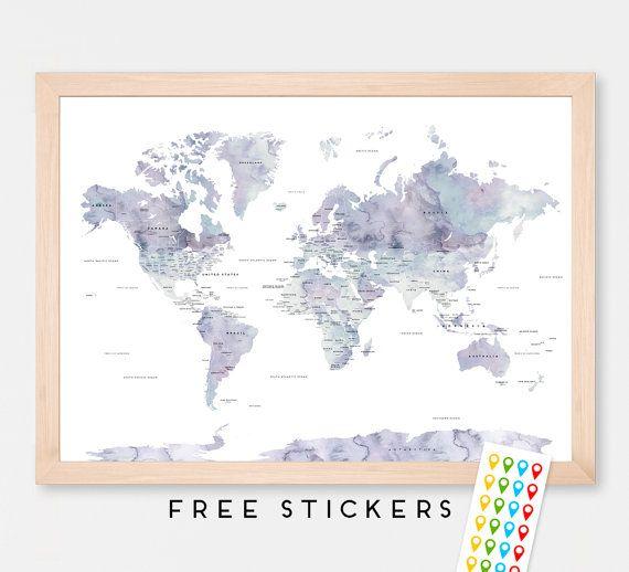Weltkarte poster aquarell marmor reise welt karte von for Pinterest weltkarte